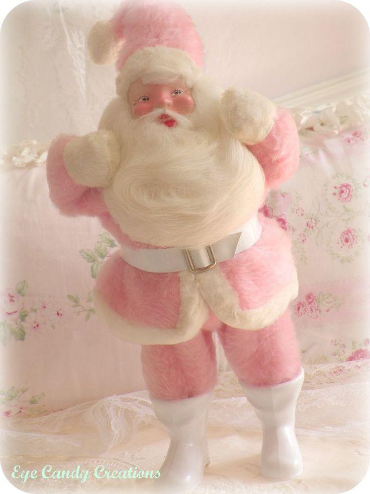 vintage SantaPink Santa, Santa Clause, Vintage Christmas, Pink Christmas, Vintage Santa, Vintage Pink, Christmas Holiday, Christmas Decor, White Vintage