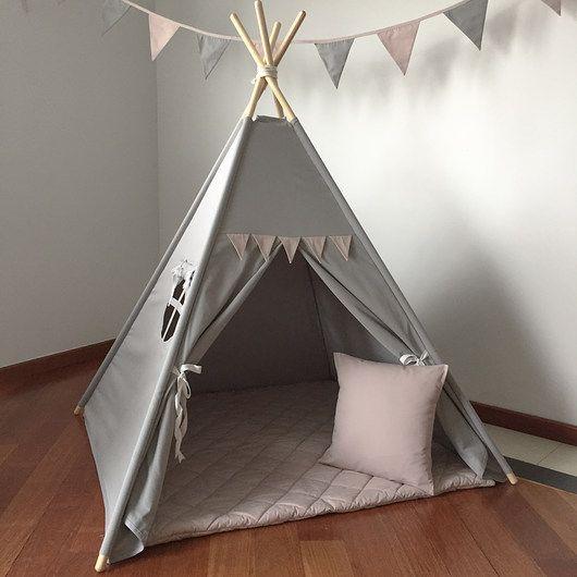 pokój dziecka - namioty, tipi-skromny róż - tipi,pokrowiec,nakładki