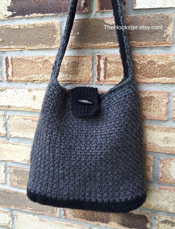 Crochet hobo bag in tweedy charcoal & black, fully lined handbag, crochet wool handbag, wool hobo handbag, slouch handbag, 2 tone bag, #H016 by TheHookster on Etsy