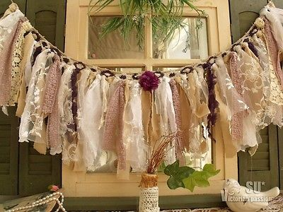 Vintage Lace Torn Rag Banner Purple Valance Fabric Garland Shabby Chic Wedding