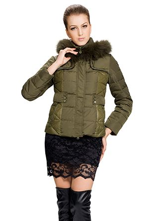 Marcia/army Green surface(90% goose filler)faux dark green fox fur/short down coat