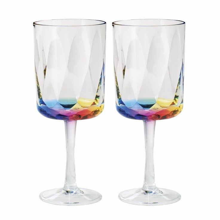Merritt Rainbow Prism 16 Oz Acrylic Wine Glasses - Set Of 2, Clear