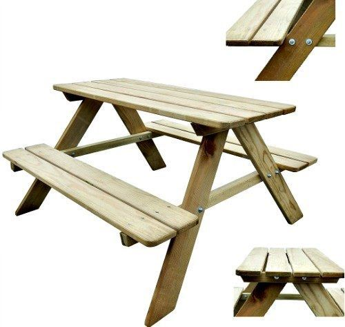 Children Kids Picnic Table & Bench Pine Wood Patio Outdoor Play Furniture Yard #Unbranded