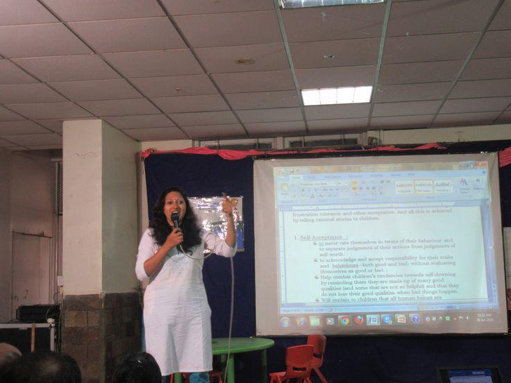 Dr. Vrushali Saraswat. BHMS, FCAH. Asst.Editor.visited for parental workshop at school.