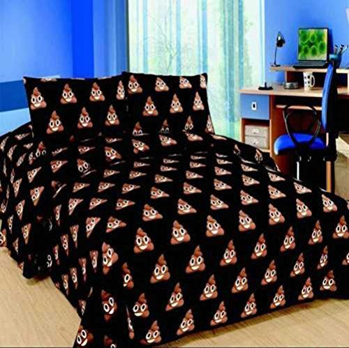 Emoji Design Duvet Cover with Matching Pillow Case Bedding Set (Double (200cm x 200cm), Smiley Poo)
