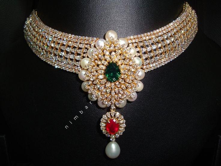 The Maharani Diamond and Gemstone Choker : Nimbark Jewellers