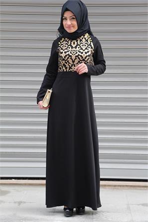 Neşe Omuz Düğmeli Elbise Siyah 2345