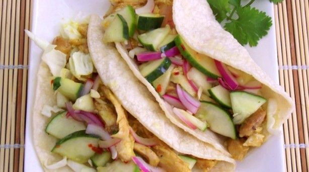 Curry Chicken Tacos with Thai Cucumber Relish: Fun Recipes, Mr. Tacos, Chicken Tacos, Food, Cucumber Relish, Parties Treats, Curries Chicken, Thai Cucumber, Small Budget