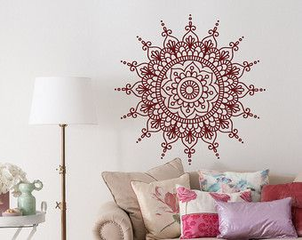Mandala Wall Decal Sticker- Mandala Vinyl Wall Decals- Yoga Studio Bohemian Boho Bedroom Mandala Wall Art- Mandala Car Window Decal MEASUREMENTS AVAILABLE 18 Tall x 18 Wide 22 Tall x 22 Wide 29 Tall x 29 Wide 36 Tall x 36 Wide *Picture may not reflect true size. Also our decals are available in other sizes. Please contact us if you need a special size. Please note that any changes of the decal dimensions will result in the price change. Choose the color of your decal from our color chart sho
