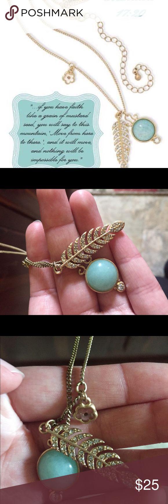 PREMIER JEWELRY NECKLACE- MATTHEW 17:20 Premier jewelry Matthew 17:20 turquoise feather necklace. Premier Designs Jewelry Necklaces