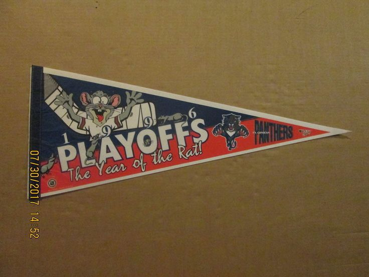 NHL Florida Panthers Vintage 1996 PLAYOFFS The Year Of The Rat! Hockey Pennant