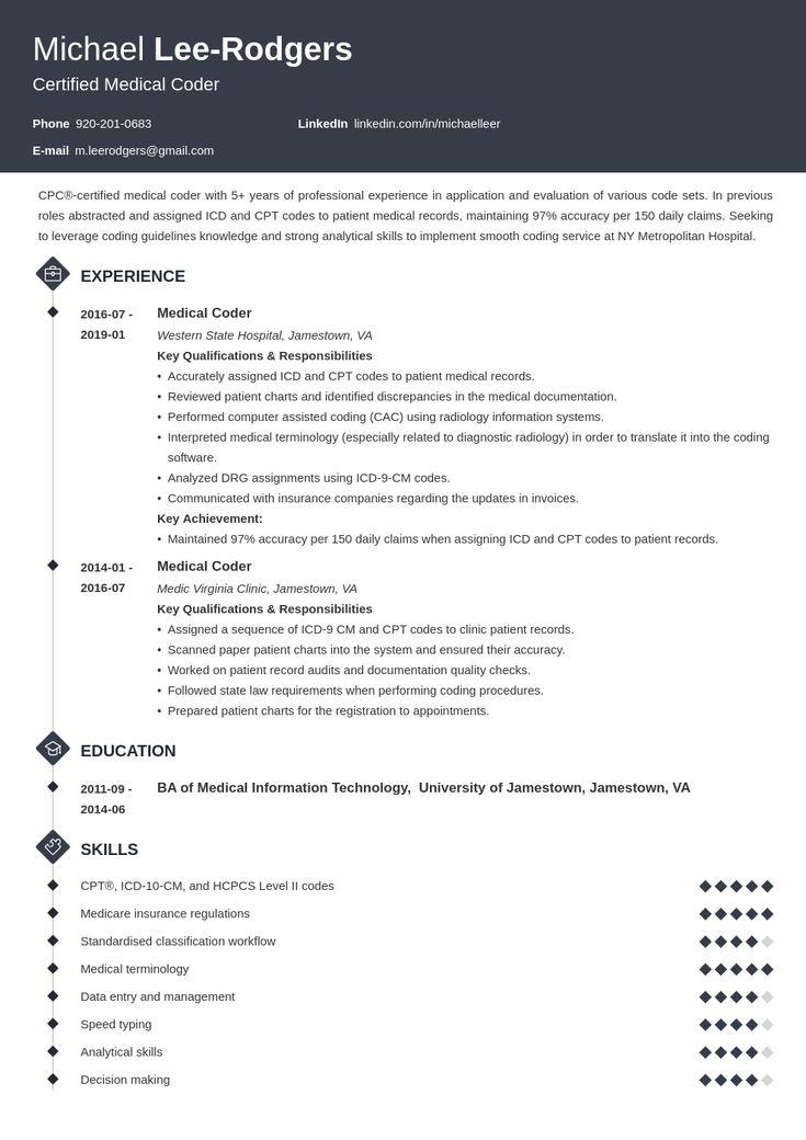 Medical Coder Resume Example Template Diamond Medical Coder Resume Medical Coder Job Resume Examples