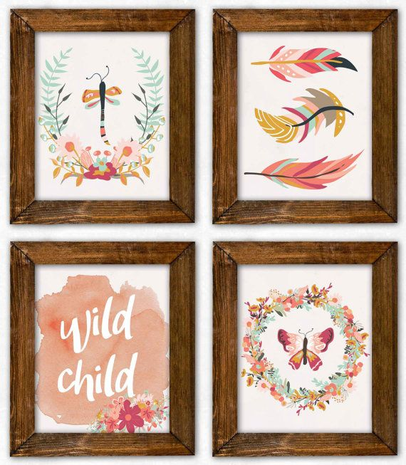 Boho Nursery Art Set. Boho Nursery Prints. by PeanutPrintsBoutique
