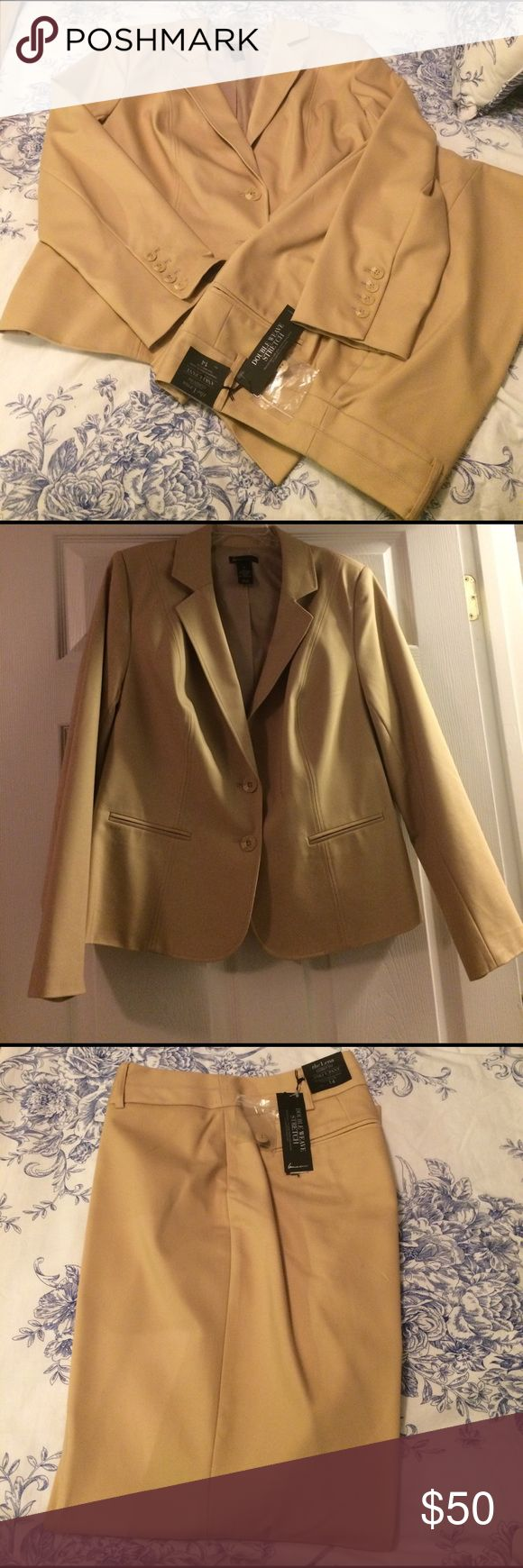 Lane Bryant Suit Separates camel lane Bryant suit separates. Jacket is size 16 New without tags, pants are size 14 and are new with tags. Lena ankle pants which are curvy fit. 52 cotton, 45 polyester 3% spandex- 2 back pockets. Jacket with 2 button closure and 2 pocket detail. Pants retail 69.95. Jacket 79.95 Lane Bryant Other