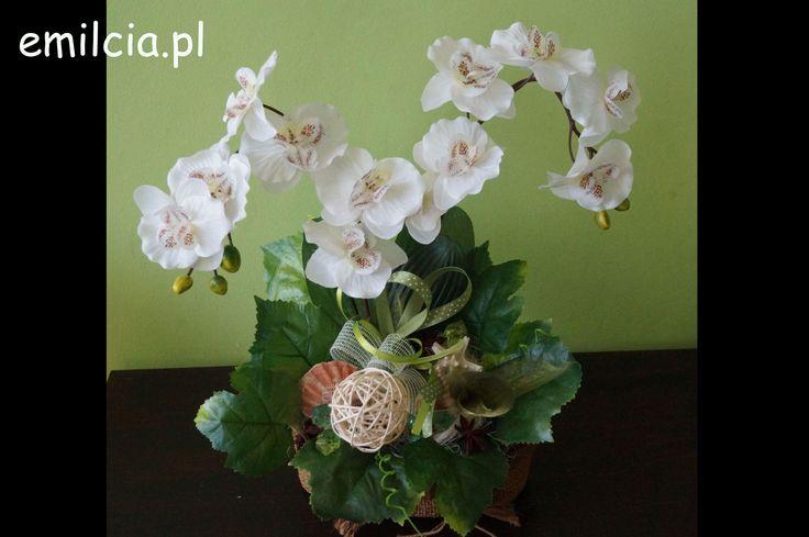 Dwa Storczyki, Kompozycja, Ikebana, Dekoracje do domu, Na prezent, Rocznicę, Podziękowanie, Kwiaty Sztuczne