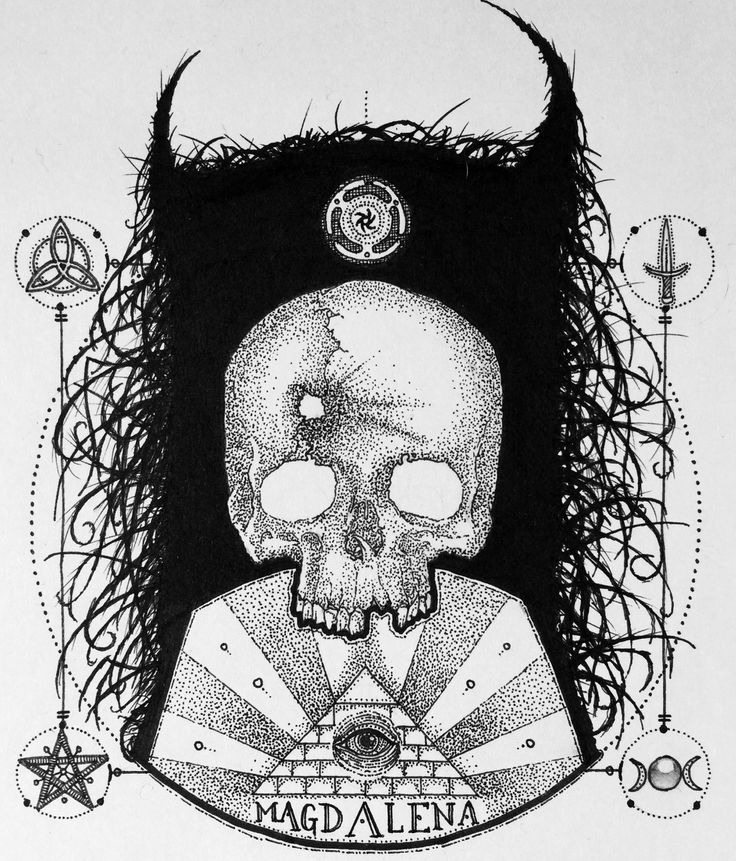 Occult Magdalena Black dot work in Pen