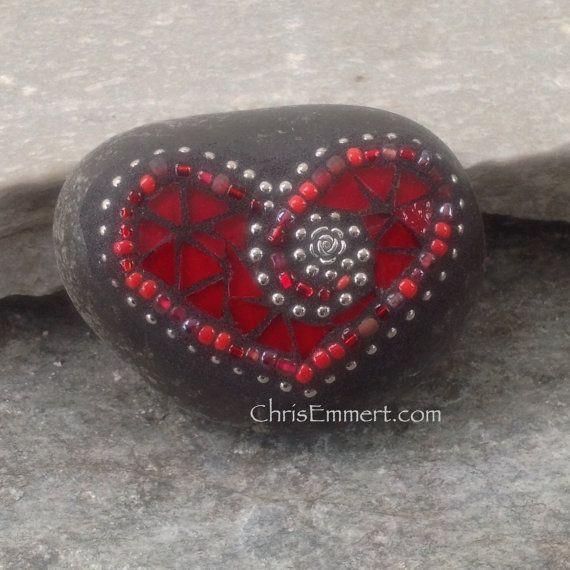Red Mosaic Heart, Valentine, Mosaic Heart, (B) Mosaic Paperweight / Garden