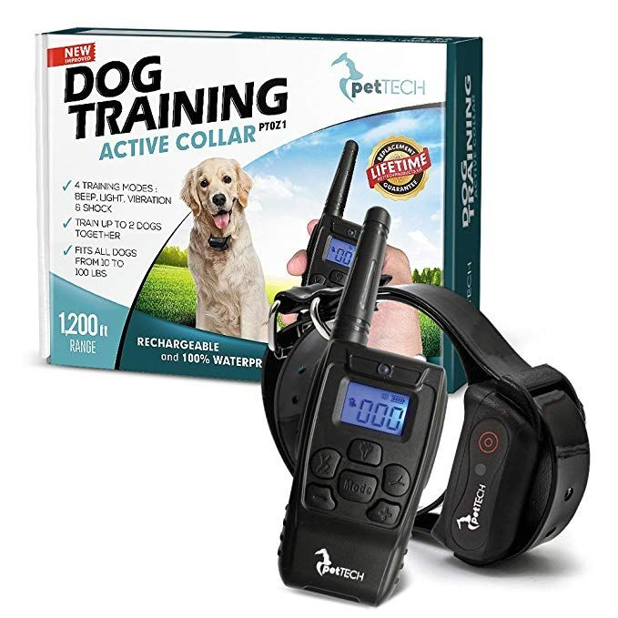 Pettech Pt0z1 Premium Dog Training Shock Collar Fully Waterproof 1200ft Range Dog Training Collar Training Collar Dog Shock Collar