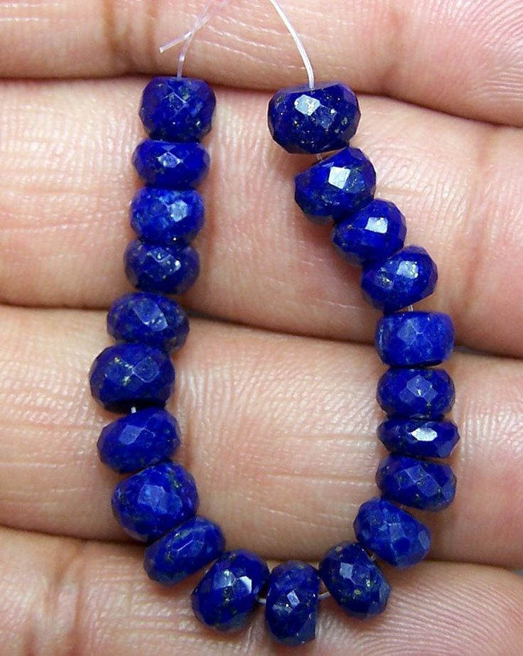 "34 Ct Royal Blue Lapis Faceted Rondelle 6-7 MM Loose Bead 21 pcs 3 1/2 "" Inches"