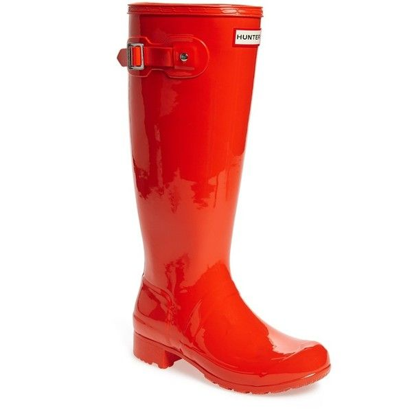 "Hunter Original 'Tour Gloss' Packable Rain Boot, 1"" heel ($150) ❤ liked on Polyvore featuring shoes, boots, lullabies, knee-high boots, tent red, red boots, low heel boots, wellington boots, lightweight rain boots and rain boots"