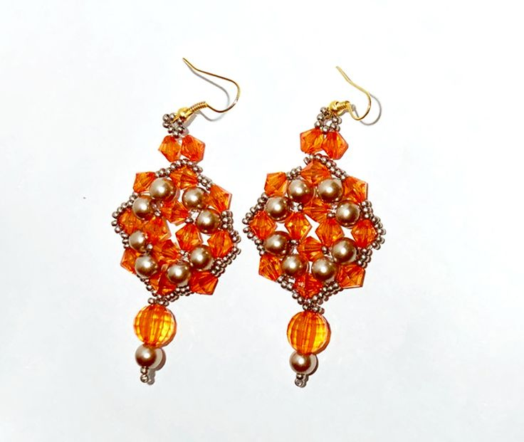 Free pattern for earrings Orange Crystal  Click on link to get pattern - http://beadsmagic.com/?p=6335