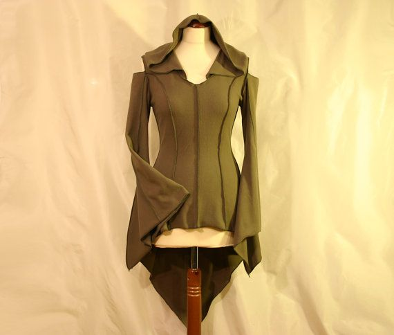 Olive Green Longer at Back Pointed Hem Elven Faery Psy Pixie Fleece Tunic with Cut Out Shoulders, SIZE M