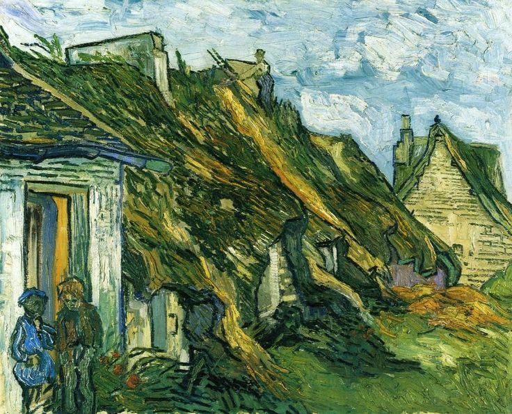 "Vincent van Gogh, ""Thatched Sandstone Cottages in Chaponval"", oil on canvas, 65.0 x 81.0 cm,   July 1890. Kunsthaus Zürich, Zürich, Switzerland."