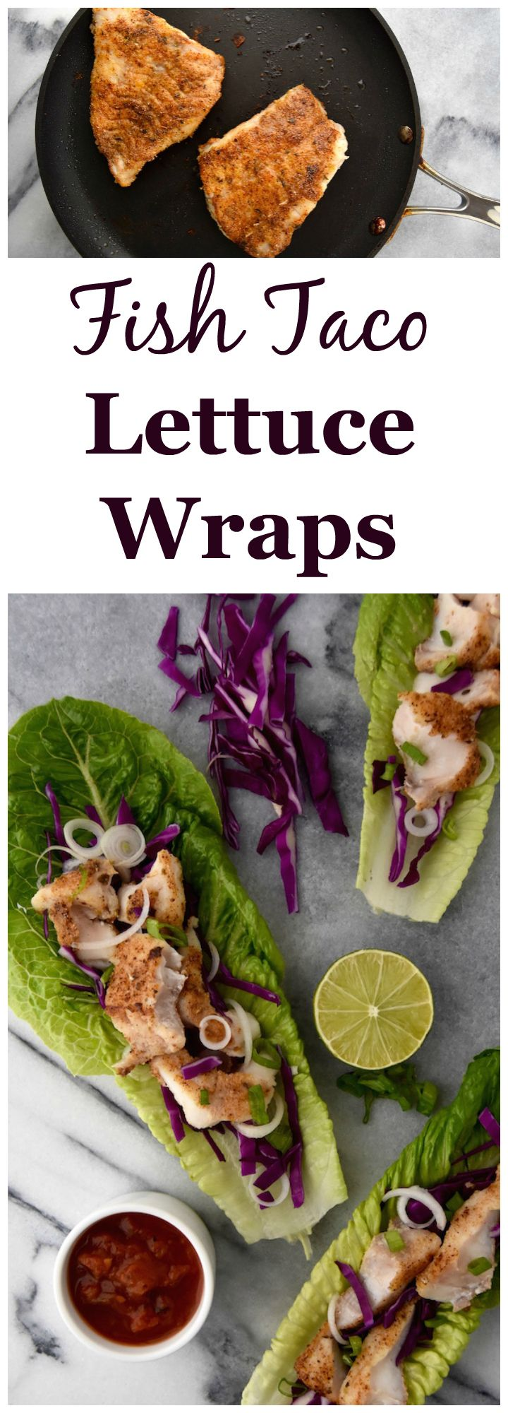 Rockfish Taco Lettuce Wraps - a simple 25 minute weeknight dinner idea. | uprootkitchen.com
