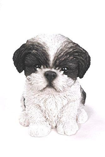 Sitting Black SHIH TZU Puppy Dog Life Like Figurine Statue Home Garden NEW