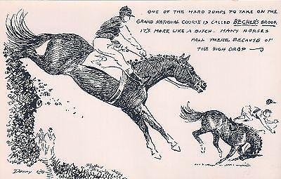 DENNY CARD  STEEPLECHASE GRAND NATIONAL HORSE POSTCARD PROPERTY OF Wesley Dennis