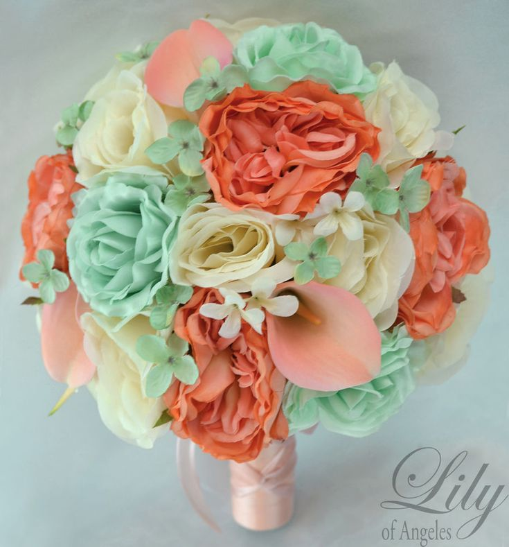 17 Piece Package Silk Flower Wedding Bridal Bouquet MINT GREEN IVORY CORAL PEACH #LilyofAngeles