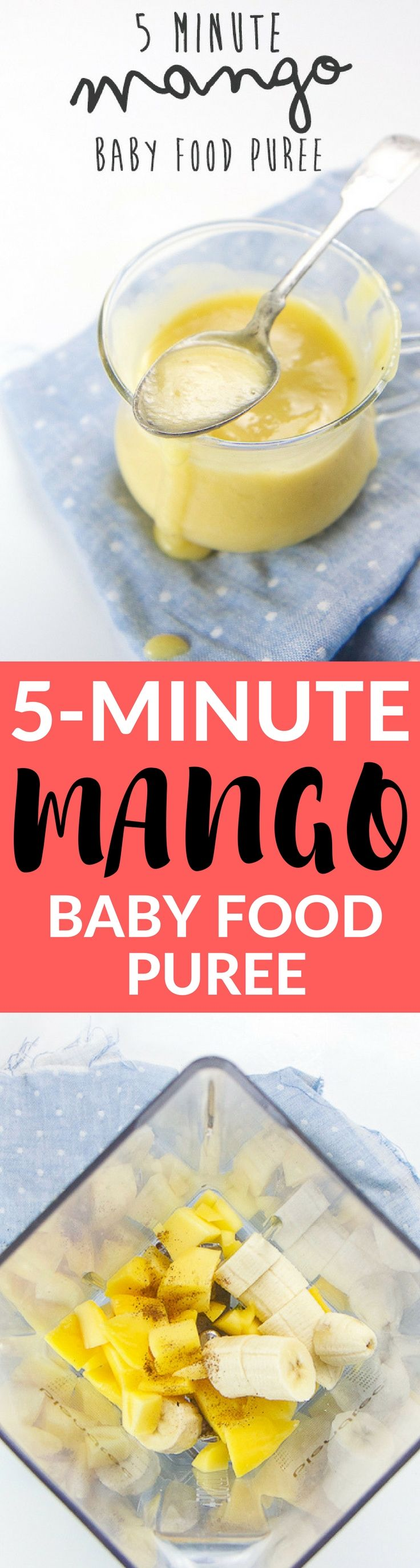 This 5-minute Mango Baby Food Puree is a great way to introduce baby to the magical taste of one of the worlds healthiest fruits - MANGOS! Bonus that it a no-cook, one-dish, easy-peasy puree for you to make!!