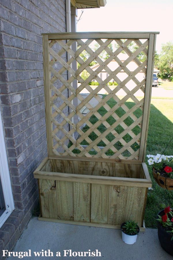 DIY Lattice Trellis with Flower Box ~ a way to add a privacy vine even where the natural soil is poor | via Frugal with a Flourish