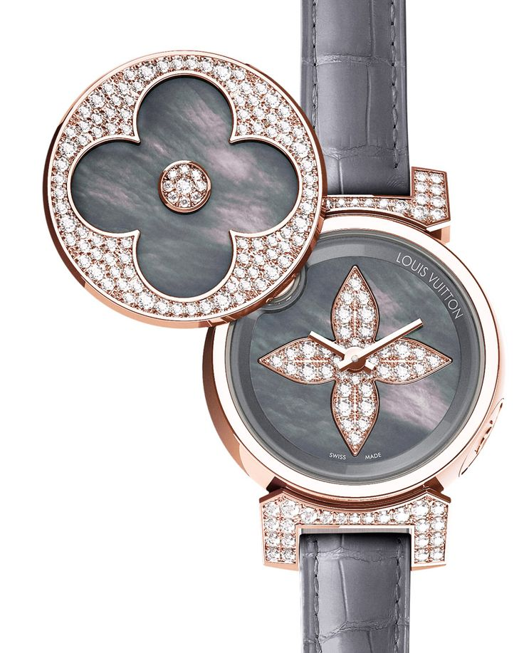 Louis Vuitton 'Tambour Bijou Secret' Rose Gold & Diamond Watch w/ Black Mother of Pearl Dial