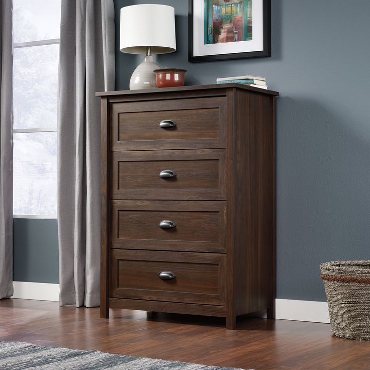 County Line 4 Drawer Chest - Rum Walnut - Enjoy authentic Shaker simplicity with this County Line 4 Drawer Chest - Rum Walnut. Crafted from wood and finished with laminate veneers, it was ...