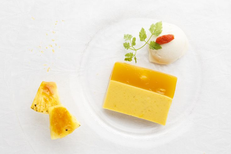 Mango tropical terrine Amazake apricot ice cream Caramelized pineapple