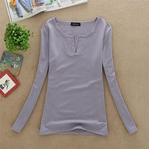 Women Basic V Neck Long Sleeve T Shirt Top Milk Silk T-shirt S-M Sexy Stretch Wholesale