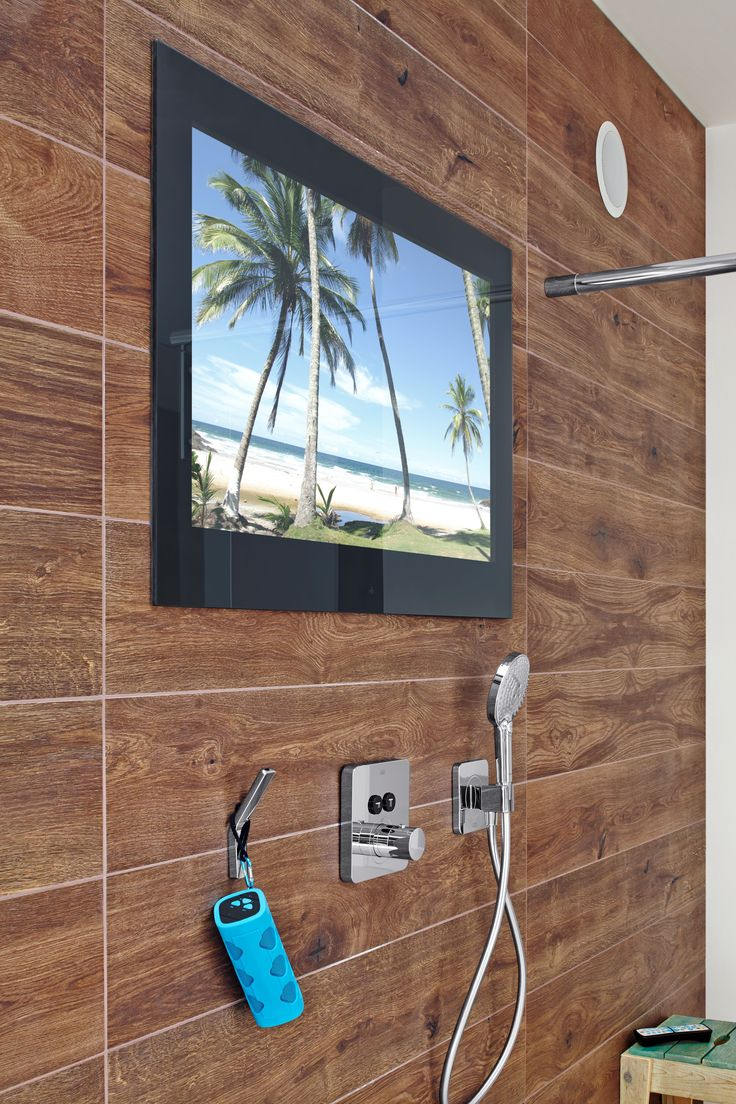 Waterproof, flush and in-wall televisions perfectly designed for bathrooms, saunas and swimming pools (but can be used in any room). #television #TV #bathroom