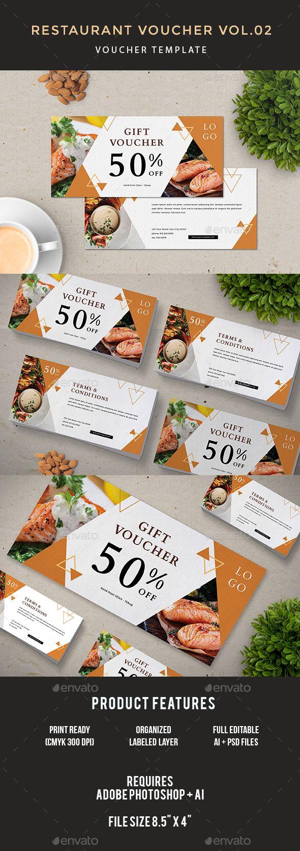 Restaurant #Voucher - Loyalty #Cards Cards & #Invites Download here: https://graphicriver.net/item/restaurant-voucher/19402833?ref=alena994