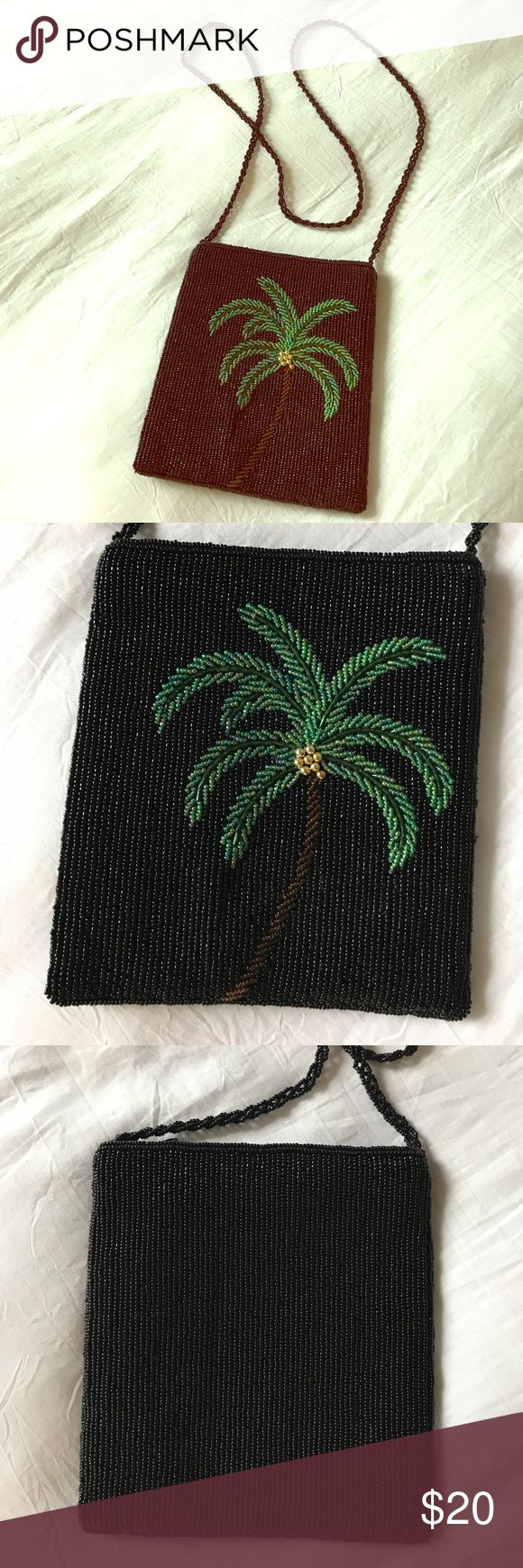 Beaded palm tree bag petite beaded bag with palm tree design on front. Back is solid black, beaded braid strap. 7 inches tall and 6 inches wide with a zipper closure and lined inside with extra loose beads. Bags Mini Bags