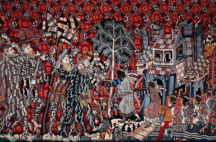 """Wild Men and Moors Linen and Wool Slit Tapestry Germany (c. 1431) 100 x 490 cm In this Medieval German tapestry, the Wild Men of the forest attack the castle stronghold of Moors, whose king and queen look on as the soldiers defend it. It is an interesting reversal of """"light=good, dark=bad"""" symbolism that many are familiar with from a great deal of Fantasy fiction, although this kind of coded language rarely was considered relevant to skin color until the 18th and 19th centuries."""