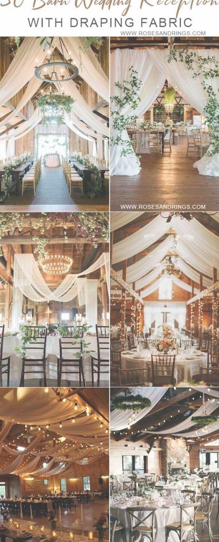 Ideen für eine Hochzeit in einer rustikalen Scheune – Hochzeitsfeier in einer Scheune mit drapiertem Stoff …   – rustic wedding ideas