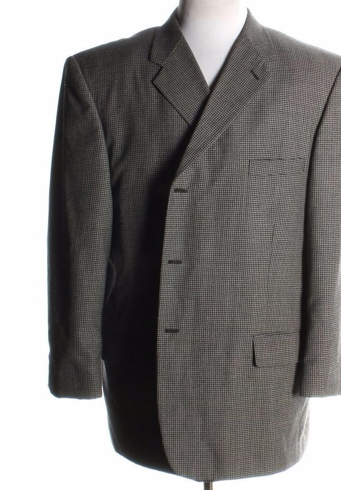 PRISTINE PALO SAVINO mens Gray Black sport coat Blazer jacket 50R 50 regular R #PaloSavino #ThreeButton