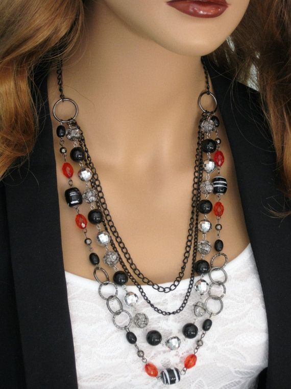 Long Black Beaded Necklace, Long Multi Strand Necklace, Black and Red Necklace…