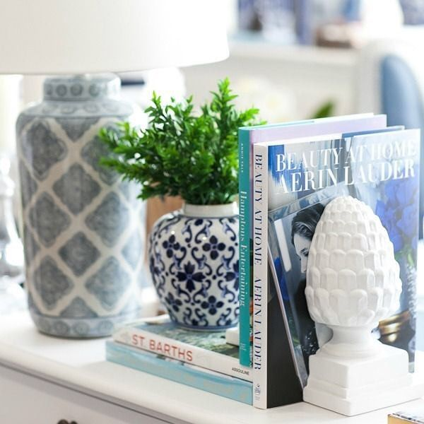 """399 Likes, 8 Comments - Hamptons Style (@hamptonsstyle) on Instagram: """"We're not sure which one we adore more ... the Acorn bookends or the Motif Lamps... """""""