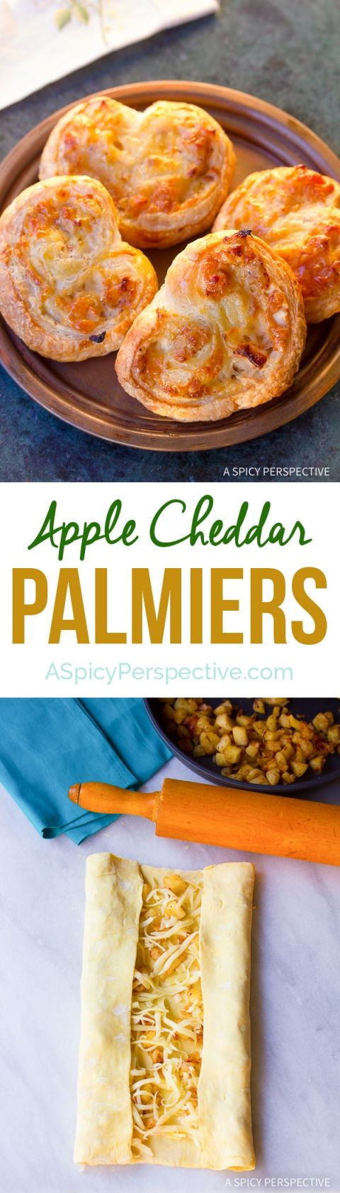 These Easy Apple Cheddar Palmiers on ASpicyPerspective.com are great ...