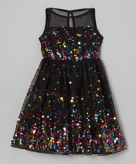 Ruby Rox Black & Rainbow Sequin Illusion Dress | zulily