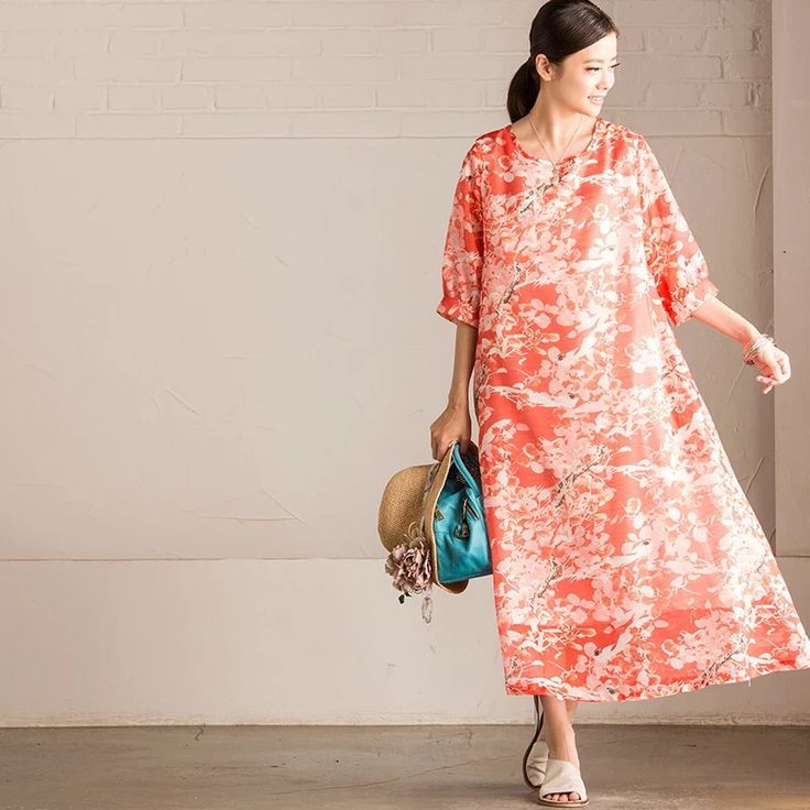 Red flower bat sleeve long dress