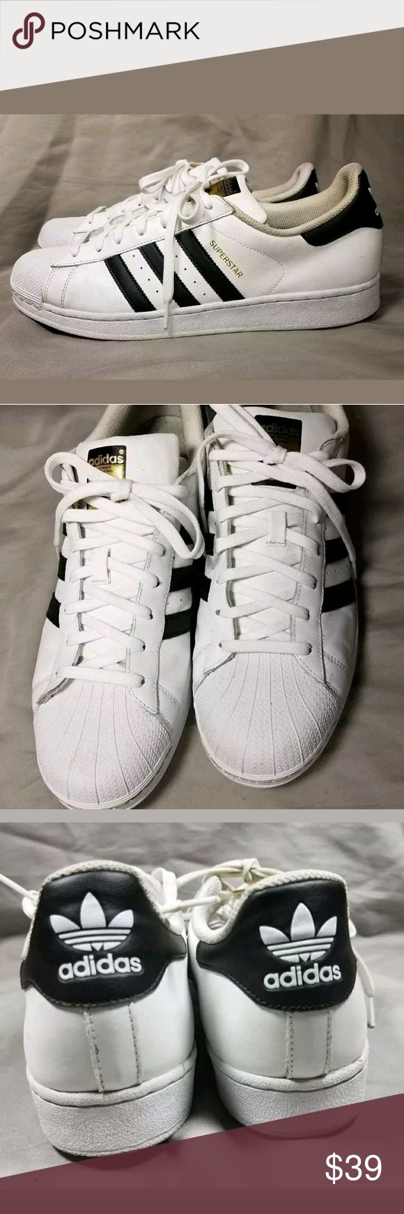ADIDAS SUPERSTAR SHELLTOE Men's sz 12 Classic Adidas Superstar Shell tops. White with black accents. Men's sz 12, good condition, minor dirt. Great everyday kicks. Easy to clean, durable shoes adidas Shoes Sneakers