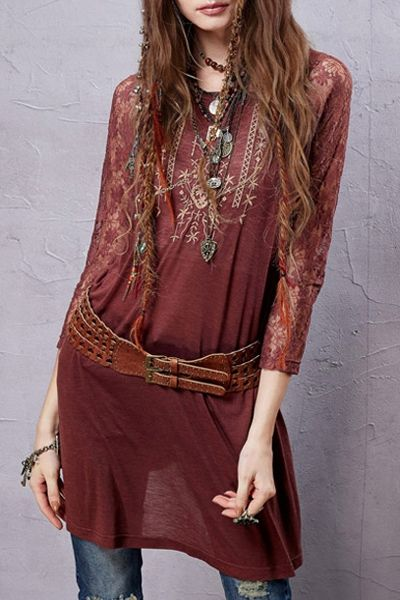 Perfect with the leather belt.  Lace Sleeve Embroidered Red T-Shirt